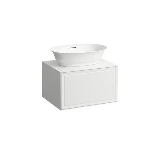 White Matte Drawer element 600, 1 drawer, with centre cut-out, matches bowl washbasins 812852, 812853