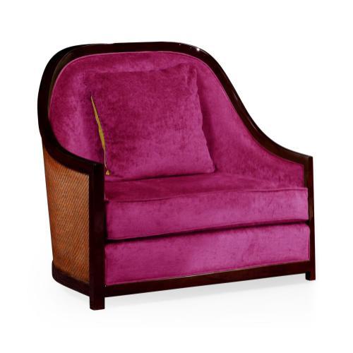 """44"""" Sonokelling & Brown Rattan Sofa Chair, Upholstered in Fuchsia Velvet"""