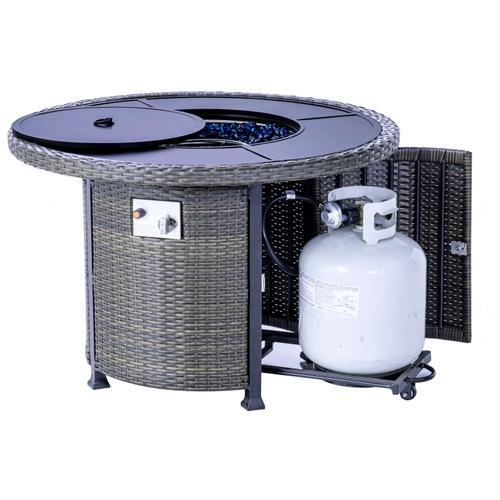 "Kennett 38"" Round Wicker Cast Gas Fire Pit Table"