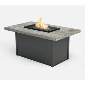 "32"" x 52"" Rectangular Chat Fire Pit Ht: 24.5"" Aurora Aluminum Base (Top Color: Drift Frame Finish: Carbon)"