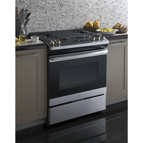 "GE 30"" Gas Slide-In Front Control Range with Storage Drawer Stainless Steel JCGSS66SELSS"