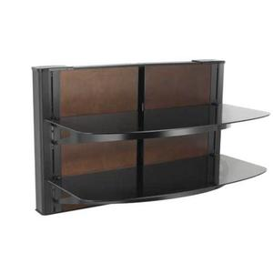 Black Wall-Mounted Furniture AV component system with two shelves-ONE ONLY CLOSE OUT SN#11764