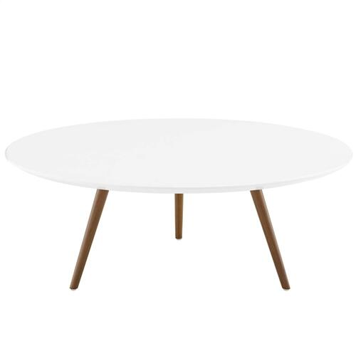 "Lippa 40"" Round Wood Top Coffee Table with Tripod Base in Walnut White"