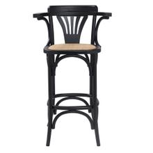 See Details - Adna Bar Stool In Black With Cane Seat In Natural