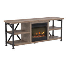 "Irondale TV Stand for TVs up to 65"" with Electric Fireplace, Autumn Driftwood"