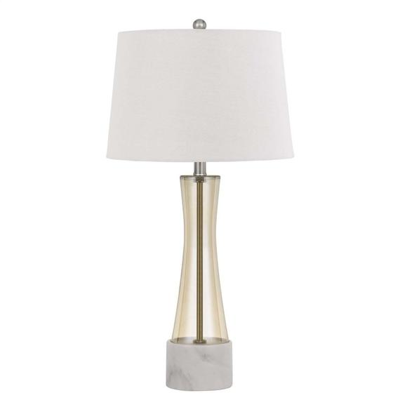 150W 3 Way Cabra Glass Table Lamp With Fabric Shade