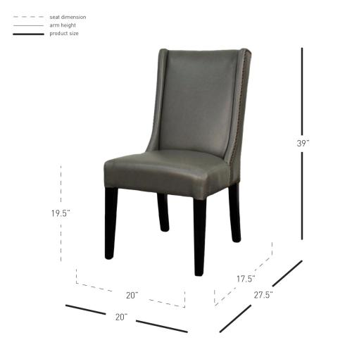 Holden Bonded Leather Dining Chair Black Legs, Vintage Gray