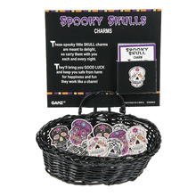 Spooky Skulls - Charms in a Basket (24 pc. ppk.)