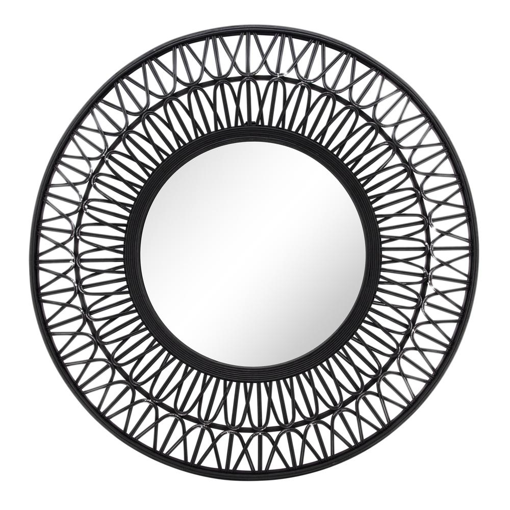 """See Details - Bamboo 36""""d Wall Mirror, Black"""