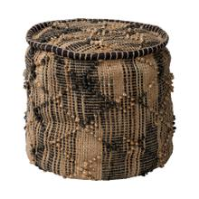 See Details - Riley Tan Jute Popcorn Stich Cylindrical Pouf