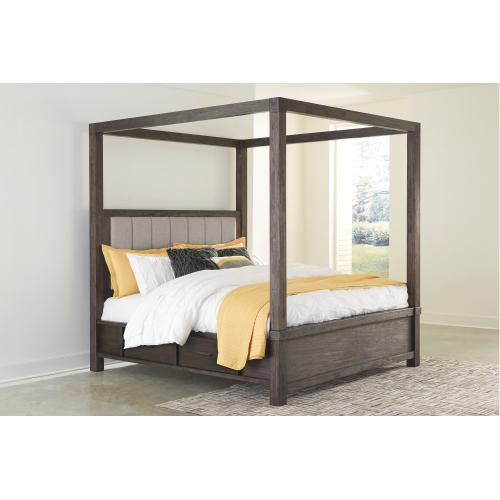 California King Canopy With 4 Storage Drawers Bed With Mirrored Dresser and Chest