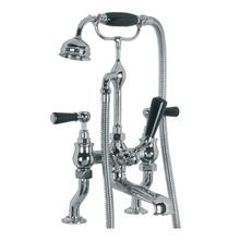 """Classic deck mounted bath shower mixer (3/4"""") with black levers"""