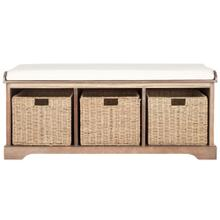 Lonan Wicker Storage Bench - Grey Wash / White
