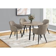 """See Details - DINING CHAIR - 2PCS / 33""""H / TAUPE FABRIC / BLACK METAL"""