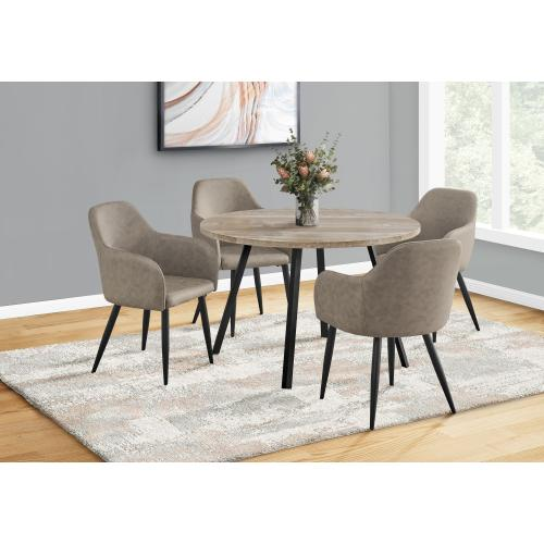 """Gallery - DINING CHAIR - 2PCS / 33""""H / TAUPE FABRIC / BLACK METAL"""