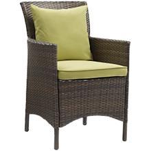 Conduit Outdoor Patio Wicker Rattan Dining Armchair in Brown Peridot