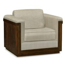 36'' Antique Mahogany Brown High Lustre Sofa Chair, Upholstered in MAZO