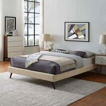 View Product - Loryn King Fabric Bed Frame with Round Splayed Legs in Beige