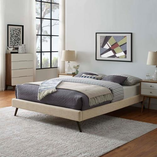 Modway - Loryn King Fabric Bed Frame with Round Splayed Legs in Beige