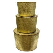 S/3 Hammered Gold Metal Accent Tables