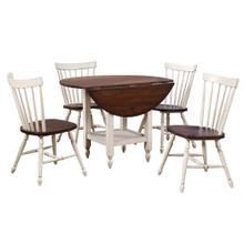 See Details - Round Drop Leaf Dining Table Set w/Shelf - Antique White & Chestnut Brown (5 Piece)