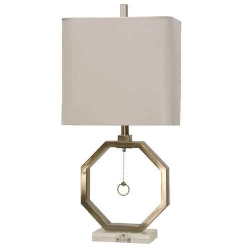Brushed Steel & Acrylic Base Table Lamp with Hanging Pull Chain and Hardback Shade