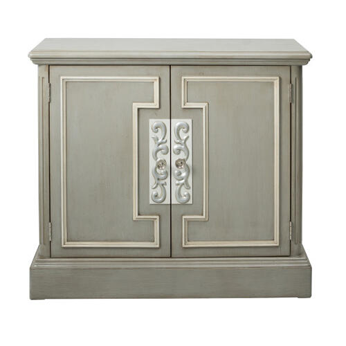 Two Door Framed Accent Chest in London Grey