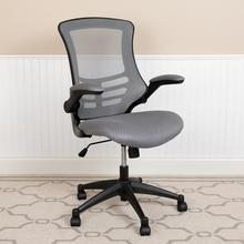 Mid-Back Dark Gray Mesh Swivel Ergonomic Task Office Chair with Flip-Up Arms