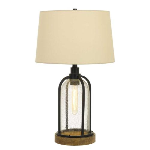 100W Ciney Glass/Metal/Pine Wood Table Lamp With 25W Night Light (Edison Bulb included)