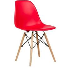 See Details - Eiffel Dining Room Chair with Natural Wood Legs - Reproduction - Set-of-1, Red