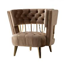 Divani Casa Courtney - Beige & Gold Fabric Lounge Chair