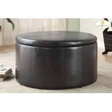 View Product - Round Storage Cocktail Table with Two Tear-Drop Ottomans