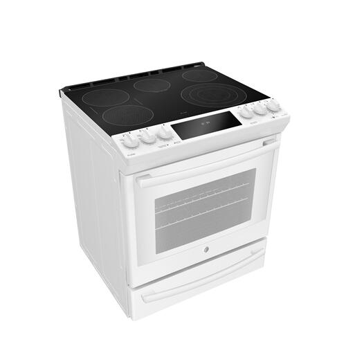 "GE Profile 30"" Electric Slide-In True European Convection with Precise Air Range with Baking Drawer White - PCS940DMWW"