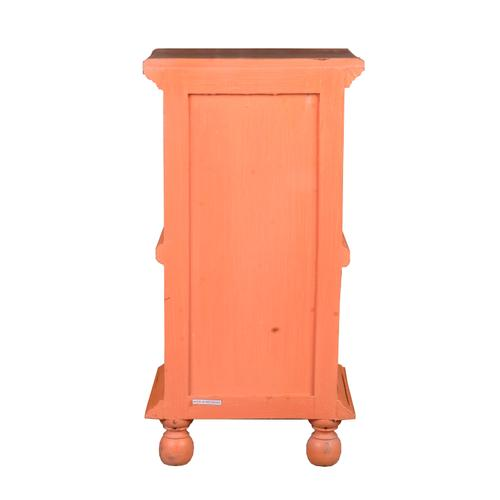 End Table with Basket - Red Weathered Finish