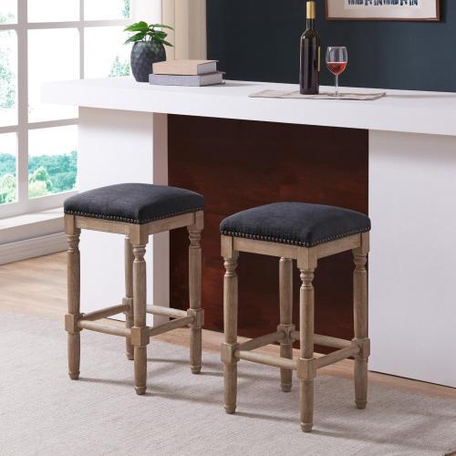 Ernie KD Fabric Bar Stool Drift wood Legs, French Black