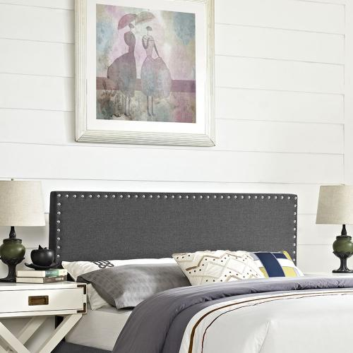 Phoebe Queen Upholstered Fabric Headboard in Gray