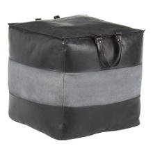 Cobbler Pouf - Black Leather, Grey Canvas