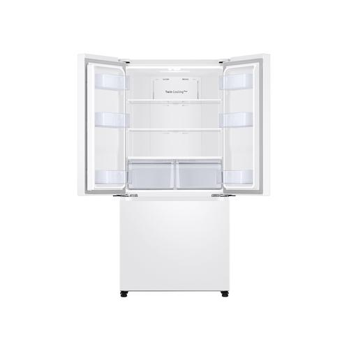 Samsung - 19.5 cu. ft. Smart 3-Door French Door Refrigerator in White