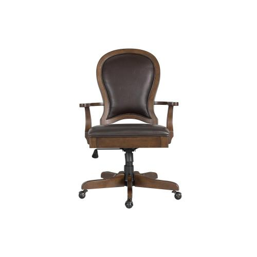Leather Desk Chair - Classic Cherry Finish