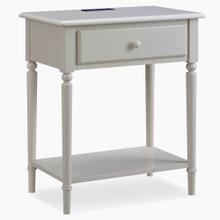See Details - Greige Coastal Nightstand/Side Table with AC/USB Charger #20022-GR