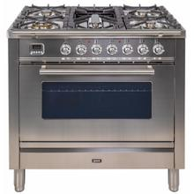 Professional Plus 36 Inch Gas Natural Gas Freestanding Range in Stainless Steel with Chrome Trim