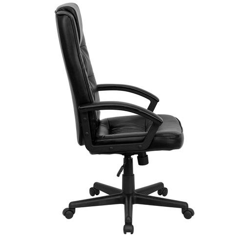 Gallery - High Back Black LeatherSoft Executive Swivel Office Chair with Arms