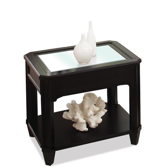 Riverside - Farrington - Rectangular Glass Top Side Table - Black Forrest Birch Finish