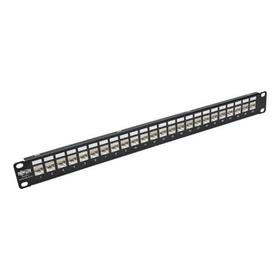 24-Port 1U Rack-Mount STP Shielded Cat5e/6 Feedthrough Patch Panel with 90-Degree Down-Angle Ports, RJ45 Ethernet, TAA
