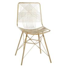 "GOLD IRON DINING CHAIR 20""W, 20""D, 36""H"