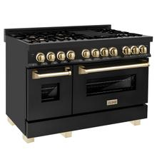 """See Details - ZLINE Autograph Edition 48"""" 6.0 cu. ft. Dual Fuel Range with Gas Stove and Electric Oven in Black Stainless Steel with Accents (RABZ-48) [Accent: Gold]"""