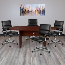 5 Piece Mahogany Oval Conference Table Set with 4 Black LeatherSoft Panel Back Executive Chairs