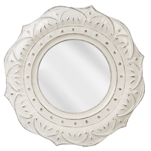 White Enamel Embossed Medallion Wall Mirror