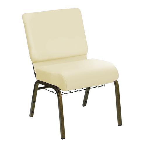 HERCULES Series 21''W Church Chair in E-Z Sierra White Vinyl with Book Rack - Gold Vein Frame