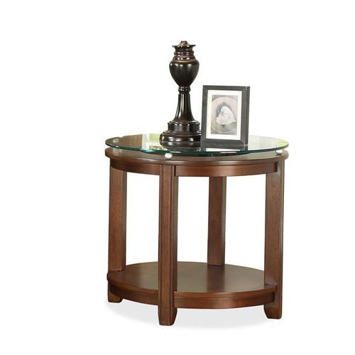 Product Image - Inspiration Retro Round End Table Warm Brandy finish-Floor Sample-**DISCONTINUED**